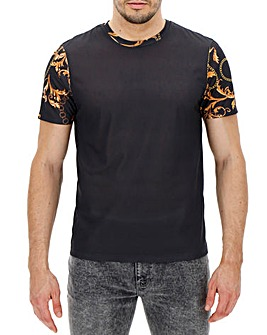 Baroque Style Sleeve Printed T-Shirt L