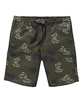 Khaki Printed Cotton Twill Shorts