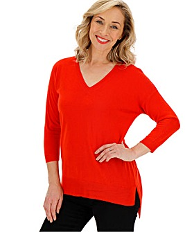 Bright Red Cashmere Like V Neck Jumper