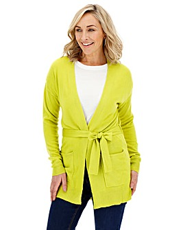 Chartreuse Cashmere Like Belted Cardigan