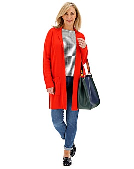 Bright Red Cashmere Like Smart Coatigan
