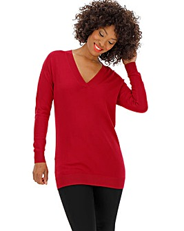 Red V Neck Tunic