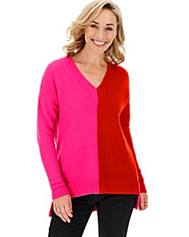 Cosy Pink/Red V Neck Jumper