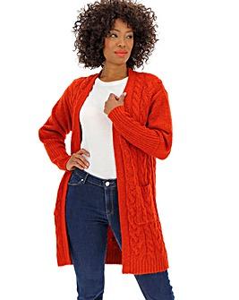 Cosy Red Longline Deep Cuff Cardigan