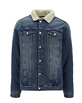 Mid Wash Borg Lined Denim Jacket Long