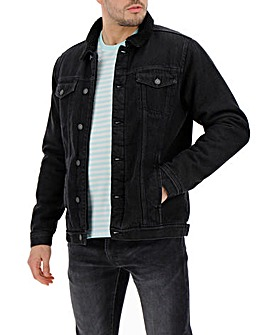 Black Borg Lined Denim Jacket Long