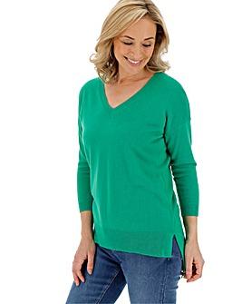 Green Cashmere Like V Neck Jumper