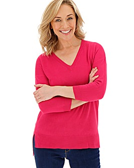 Hot Pink Cashmere Like V Neck Jumper