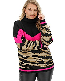 Cosy Chevron Animal High Neck Jumper