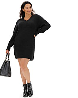 Cosy Black V Neck Sweater Dress