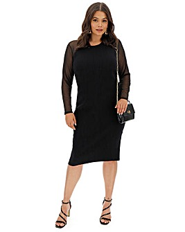 Midi Mesh Sleeve Knitted Dress