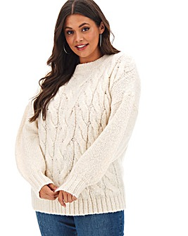 Ivory Boxy Chunky Cable Jumper