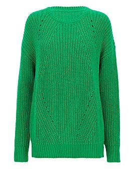Bright Green Wavy Pointelle Jumper