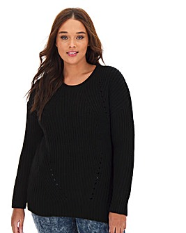 Black Wavy Pointelle Jumper