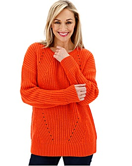 Bright Coral Wavy Pointelle Jumper