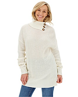 Ivory Button Split Neck Tunic
