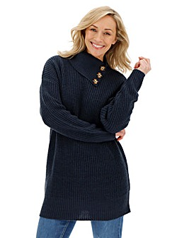 Navy Button Split Neck Tunic