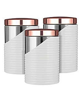 Tower Linear White Set of 3 Tea, Coffee, Sugar Canisters