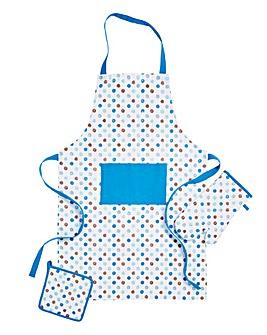 Polka Dot Set 3 Apron, Glove & Potholder