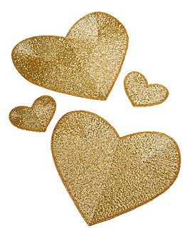Gold Heart Set of 2 Placemats & 2 Coastr