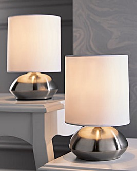 Twin Pebble Touch Bedside Table Lamps