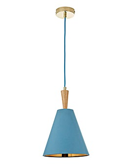 Blue Ceiling Light With Oak Wood Spindle