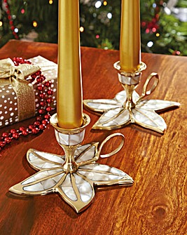Poinsettia Candle Holder Set of 2