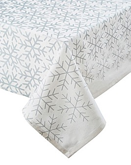 Silver Snowflakes Large Tablecloth
