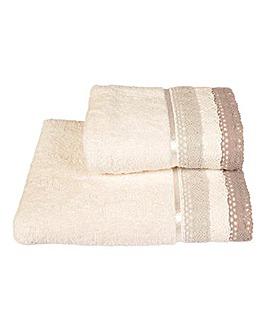 Lauren Crochet Towel Range- Silver
