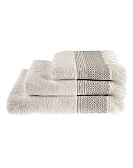 Diamond Fringe Towel Range- Grey