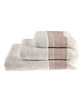 Diamond Fringe Towel Range- Mauve