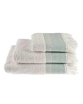 Diamond Fringe Towel Range- Peppermint