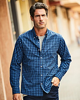 W&B Navy Check Long Sleeve Shirt Regular