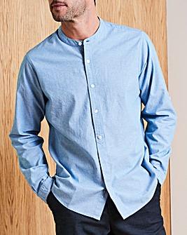 W&B Chambray Long Sleeve Grandad Shirt Regular