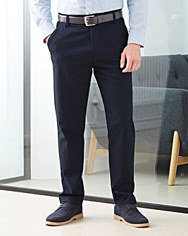 W&B Navy Textured Chino Trousers 31in
