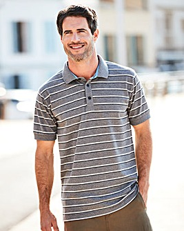 W&B Grey Stripe Polo Shirt L
