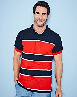 W&B Red Stripe Polo Shirt L