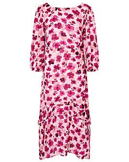 Monsoon Pompea Poppy Print Midi Dress
