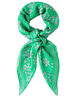 Monsoon FLORAL BORDER SQUARE SILK SCARF