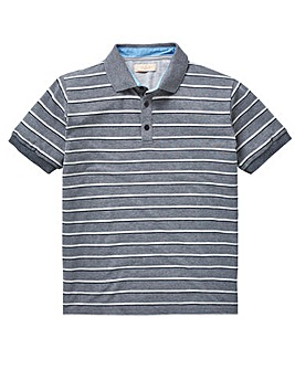 W&B Grey Stripe Short Sleeve Polo Shirt Long