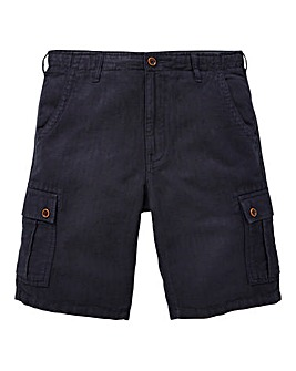 W&B Navy Linen Mix Cargo Shorts