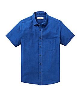 W&B Cobalt Short Sleeve Seersucker Stripe Shirt L