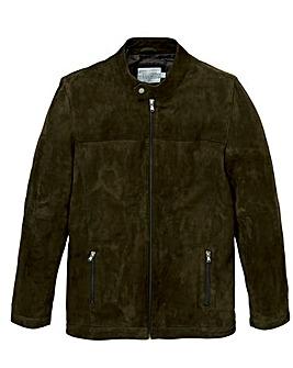 W&B Olive Suede Biker Style Jacket Regular