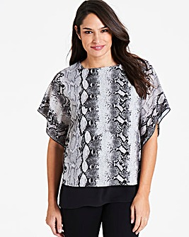Snake Print Double Layer Blouse