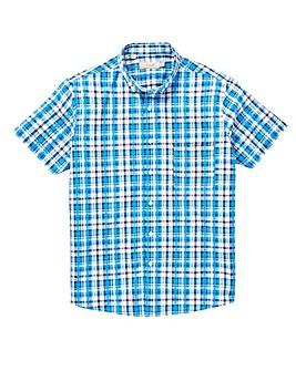 W&B Blue Check Short Sleeve Seersucker Shirt Regular