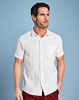 W&B White Short Sleeve Seersucker Shirt Long