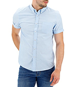 Mid Blue Short Sleeve Oxford Shirt Long