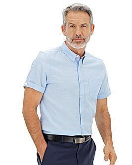 Mid Blue Short Sleeve Oxford Shirt Long