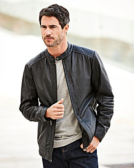 W&B Black Leather Biker Style Jacket R