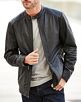 W&B Black Leather Biker Style Jacket R